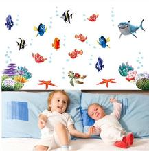 nemo fish cartoon wall sticker for shower tile stickers in the bathroom for children kids baby on bath AY617(China)