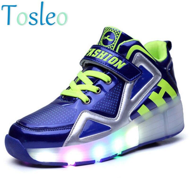 Luminous Shoes Kids Led shoes Boys Shoes with Wheels black white blue <br>
