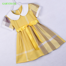 GARYDUCK Baby Girls Western Plaid Dress Lapel Neckline Summer Cotton Dress Vintage Princess Holiday Dresses,Girls Casual Clothes