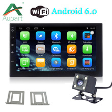 Android 6.0 Car Radio Universal 7'' Touch screen GPS Navigation 2 Din MP5 Player Bluetooth WiFi Wheel Director Rear View Camera(China)