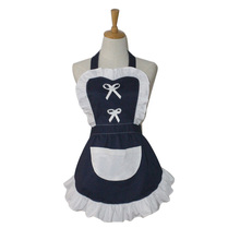 Korean White Ruffled Short Cotton Waitress Maid Adult Cosplay Avental de Cozinha Divertido Tablier Cuisine Pinafore Apron(China)