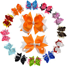 "4.5""-5"" Semi-Big Twisted Hair Bows Clips For Juniors Teens Child Flower Girl Barrettes Retro Hair Accessories Pack Of 12(China)"