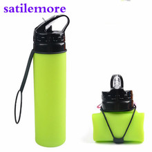 Sport Water Bottle Food Grade 600ML Creative Collapsible Foldable Silicone drink Camping Travel my plastic bicycle(China)