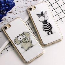 Cute Cartoon ainimals Zebra elephent Cases For iPhone 7 8 Plus back Cover Fundas For iPhone 5s SE 6 6s Plus Silicone Phone Cases