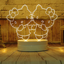 LED3D Three-dimensional Luminous LED Night Lamp USB Night Lamp Creative Ding Dong Cat Night Light Custom Environmental Beauty(China)