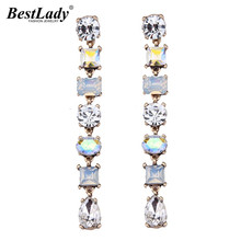Best lady Luxury Beads Colorful Long Earrings Statement Jewelry Fashion Brand Hot Shinning Sexy Drop Dangle Earrings Women 4256(China)