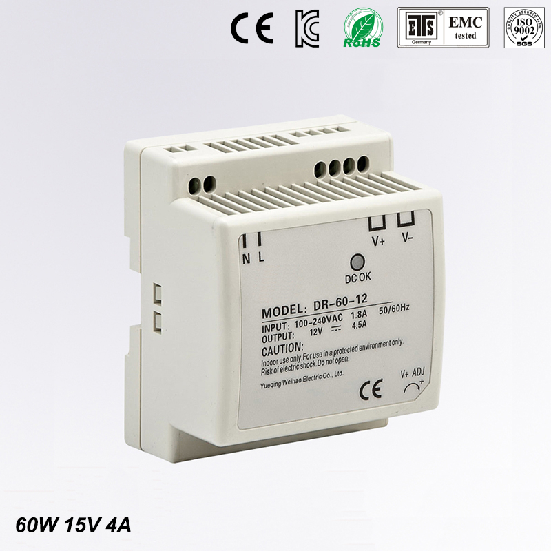 low cost fast delivery DIN RAIL switch power supply1 5v 4a DR-60-15 60w 15v 4a din mounting small size thin size<br>