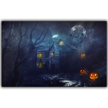 Halloween Poster Pumpkins, Black Cat, Witch's Broom Modern Cartoon Art Picture For Home Decoration Silk Poster and Prints QT059