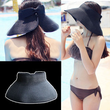 17 Colors Beach Cap Summer Hats Fashion Bowknot Sun Visor Women Large Brimmed Hat Ladies Straw Hats Folding parent-child hat(China)