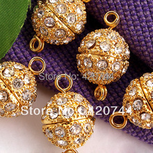 50pcs/Lot Gold Tone Metal Diamante Rhinestone Necklace Clasps CHIC(China)