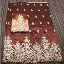 Free Shipping George Fabric For Blouse Extra 2 yards Net 2016 Best Quality With Gold Sequin Brown Beautiful Cotton Lace GD402B-1