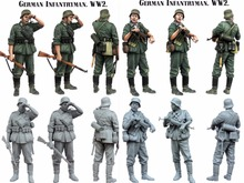 1/35 scale WW2 German INFANTRYMAN 2 people WWII Resin Model Kit figure Free Shipping