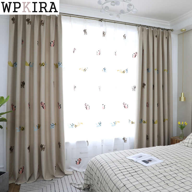 Cute Cat Blackout Curtains for Living Room Bedroom Tulle Curtains Window Curtains for the Bedroom Custom Made 131&40