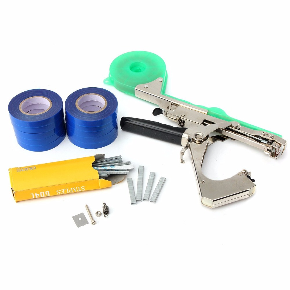 Plant Branch Hand Tying Binding Machine Flower Vegetable Garden Tapener Grape Tape Tool with 10 ropes and 1 box pins<br>