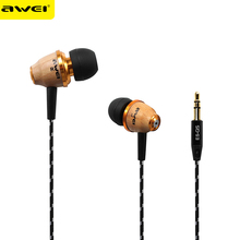 Awei ES-Q5 3.5m Wired Earphone Super Bass in-ear Wooden Wood Headset for iPhone Samsung HTC Huawei Meizu OPPO LG PC MP3 MP4