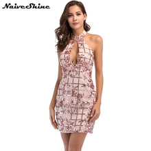Naive Shine Women Sexy Off the Shoulder Sequin Club Party Dresses Halter Backless Plaid Floral Pattern Bodycon Mini Summer Dress(China)
