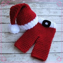 Knitted Santa Clause style Newborn Photography Props Toddler Infant Xmas Gifts Crochet Baby Beanies and Trousers