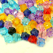 Hot-200pcs 10mm Cube Shape Faceted Face Acrylic Beads 18 Colours Available Loose Spacer Beads for DIY Craft (CN-BSD121)