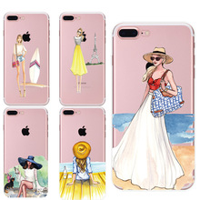 Painting Phone Cases for iphone 6 6s 6Plus 7 7s 7plus Soft Slim TPU New Fashion Tourism Sex Girl Women Mobile Phone Cover Case