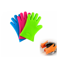 1pcs Thickened Microwave Insulation Gloves Heart-shaped Silicone Oven Mitts Kitchen Accessories(China)