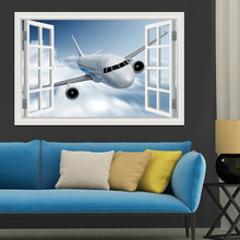 Landscape Wallpaper Airplane 3D Wall Sticker Decal Vinyl Wall Art Mural Large Window View Blue Sky Home Decor Living Room(China)