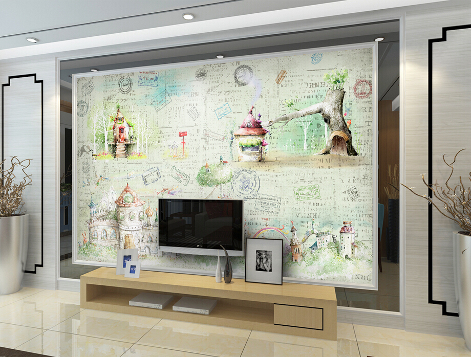 Custom Watercolor fairy tale castle vintage wallpaper,restaurant living room tv sofa wall bedroom 3d wall murals wallpaper<br>