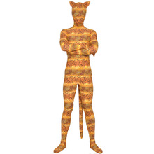 Tiger Stripes and Leopard Mixed Adult Lycra Full Body Zentai Tight Skin Suit Animal Pattern Unitard with Ears and Tail Custom