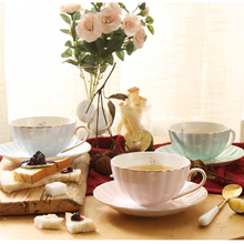 200ML Brief Lovely Animal Pattern Ceramic Fine Bone china Cafe Coffee Milk Lovers Mug with Saucer Kit Gold Plated Black Tea Cup(China)
