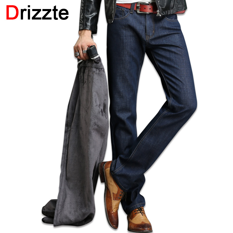 Drizzte Brand Mens Winter Fleece Thicken Jeans Flannel Lined Quality Denim Jean Pants Trousers Size 28-42Одежда и ак�е��уары<br><br><br>Aliexpress