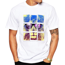 2017 New Men's Retro Lion King Photo Design T Shirt Cool Tops Short Sleeve Vintage Animal Print Hipster Novelty Tees Pb222(China)