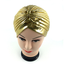 2017 golden silver turbante  hijab Turban Headwrap hat cap women shiny high Quality Chemo Bandana hijab and muslim Indian Cap