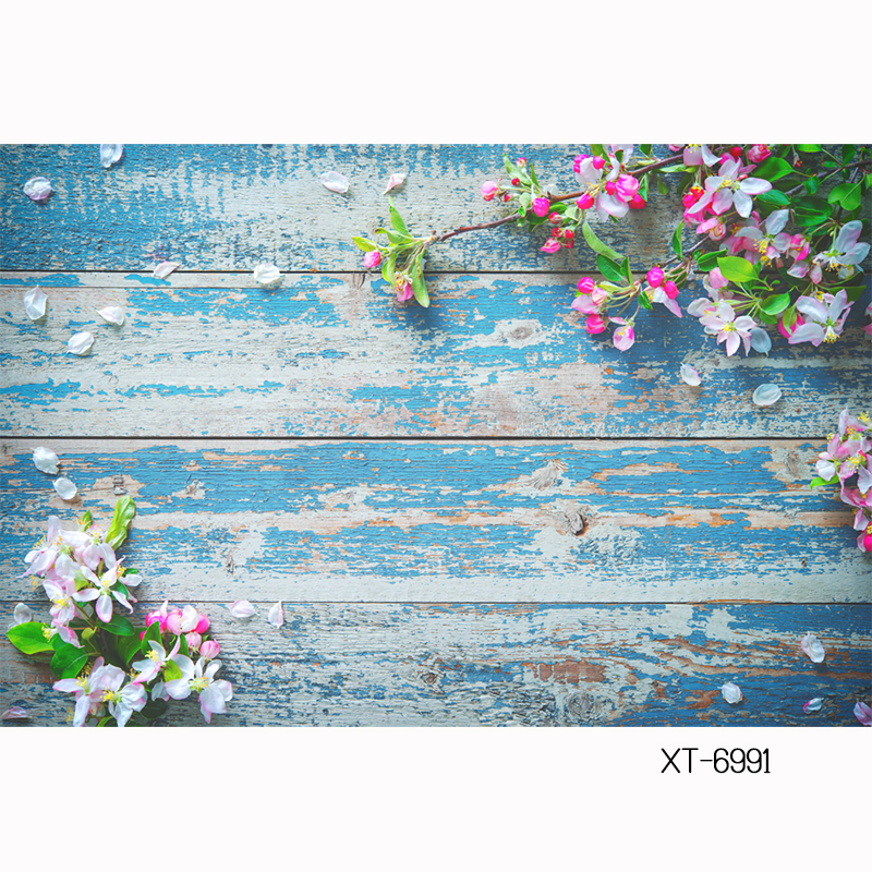 HUAYI blossoming-light-pink-flowers Backdrop for diy/foods/cake/products Photography old blue wood board plank Floral XT-6991