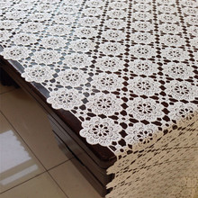 Free Shipping 8001 hollow Natural Cheap PVC tablecloth tea Cup Mat Table Cover Table Runner water oil proof dining table(China)
