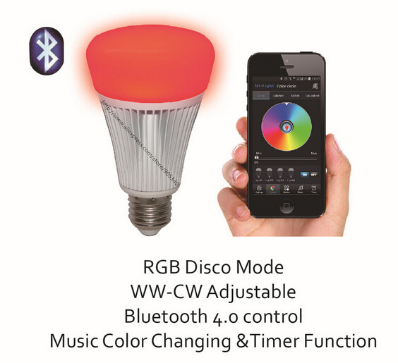 New 8W RGBW Bluetooth led bulb 16million colors changing bulb,dimmable LED bulb with speaker built-in,music and timing function <br>