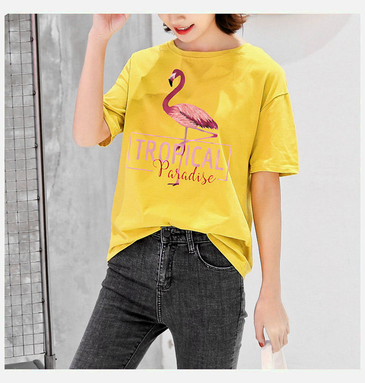 2018 Fashion Women T-shirt Summer Flamingos Tops Tees Ladies Tshirt Tropical Leer T-shirt Female Short Sleeve Poleras Mujer  (13)