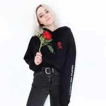 People Are Poison Rose Sleeve Print Hoodie Sweatshirt Black Tumblr Inspired Aesthetic Pale Pastel Grunge Aesthetics(China)