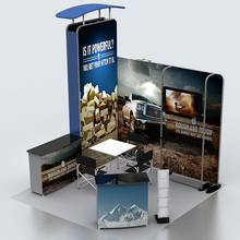 10ft portable Fabric Trade show display Pop Up Stand booth system kits with TV mount Counter custom graphic print