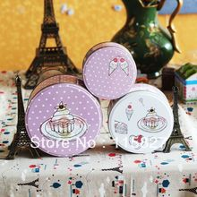 3pcs/set  Round metal storage case iron box Tin case sundries container biscuit box candy box cake case