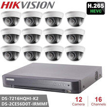 Наблюдения Hikvision Наборы DS-7216HQHI-K2 Turbo HD DVR + DS-2CE56D0T-IRMMF HD 1080 P Крытый ИК купольная Камера TVI/AHD/CVI/CVBS(China)