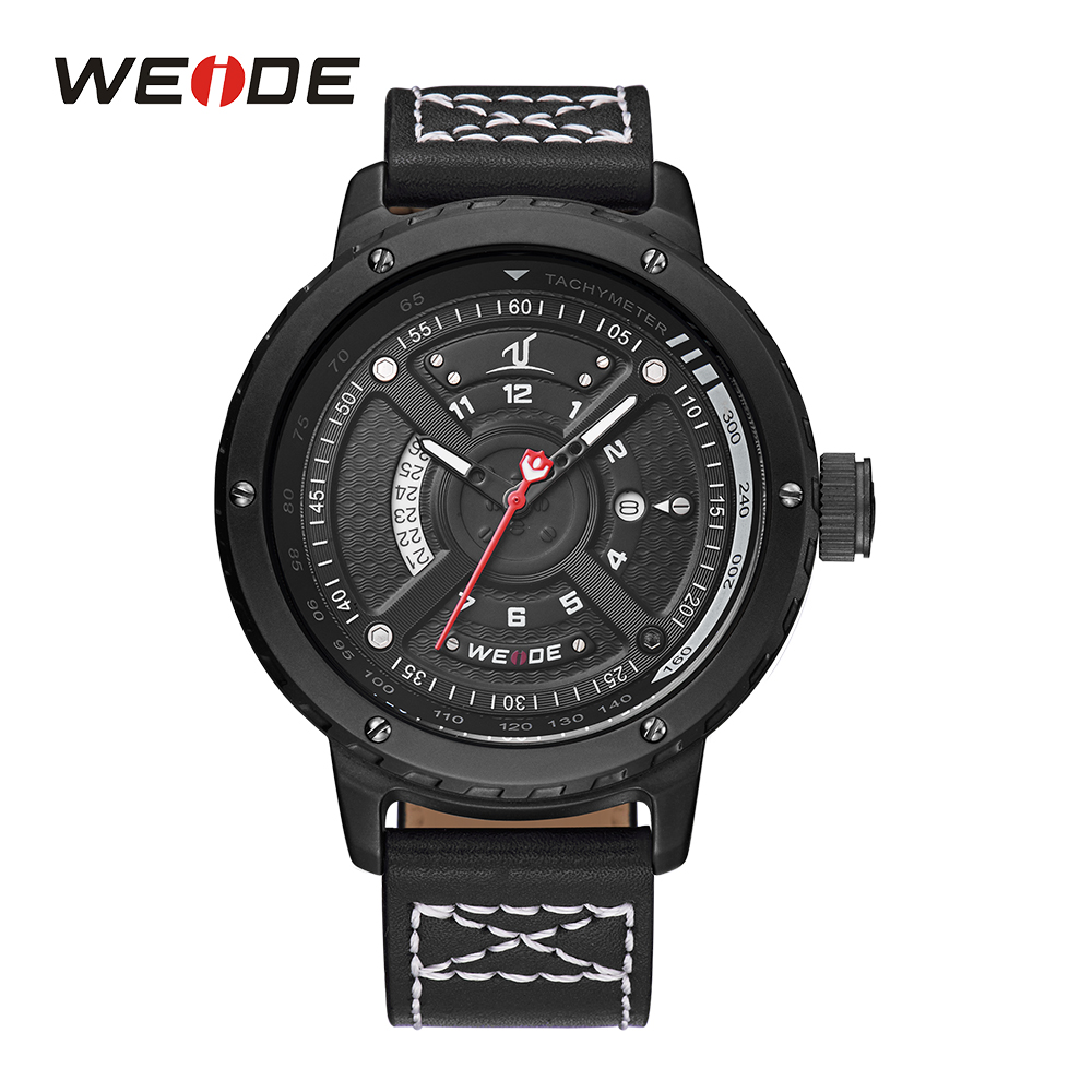 WEIDE Mens Sport White Wristwatch Complete Calendar Date Black Dial Leather Strap Buckle Analog Display Relogio Military Watches<br>