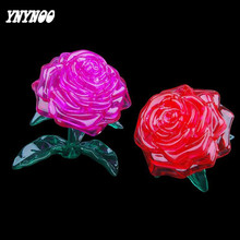 YNYNOO Newest 3D puzzle DIY Crystal Red Rose 3D Crystal Puzzles Purple rose Assembled DIY model birthday gifts toys For kids