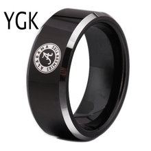 Free Shipping Customs Engraving Ring Hot Sales 8MM Black With Shiny Edges Alabama Design Tungsten Wedding Ring(China)