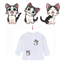 Cartoon DIY Clothing Decoration Kitten Patches Heat Transfer Ironing Stickers For T-shirt Dresses Sweatshirt A-level Washable