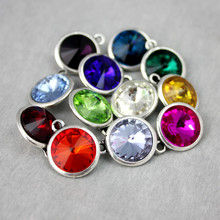 Diy birthstone charms metal bracelet pendants charm for jewelry making dijes para bisuteria al por mayor(China)