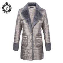 COUTUDI 2017 Ukraine Jacket Womens Clothing Spring Autumn Parka Polyester Turn Down Collar Coats Fur Line Warm Female Overcoats(China)