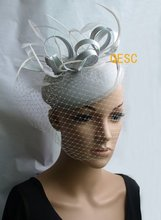 NEW Silver grey  headband party sinamay  fascinator/felt fascinator/wedding race carnival fascinator with feathers and veiling
