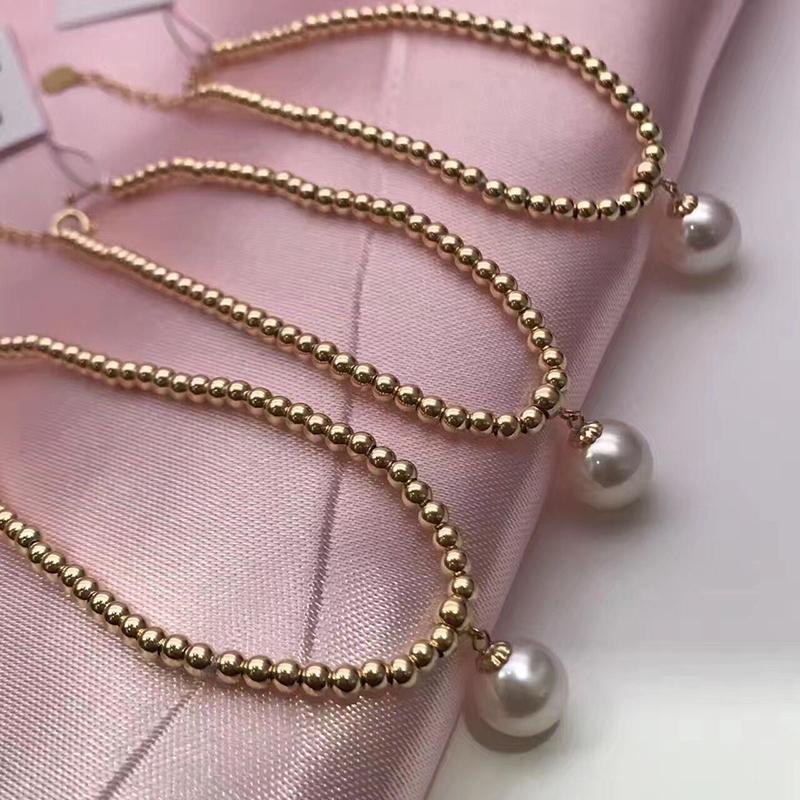 Sinya Natural pearls 18k gold beads strand bracelet for women girls Mom lover length 18cm can adjustable pearl diameter 7-8cm  (1)