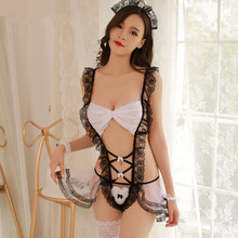Buy Sexy Maid Costumes Temptation See Lace Mesh Teddy Babydoll Porn Cosplay Maid Lingerie Sexy Erotic Underwear Nightwear