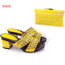 HU&GH Shoes and Bag Set Women Sandals And Handbag 7cm med Heels Italian Shoes With Matching Bags Women Set by dhl