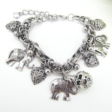Tribal Vintage Style Cute Elephants and Hearts With DIY Locket Cage Fashion Oil Diffuser Charms Bracelet(China)